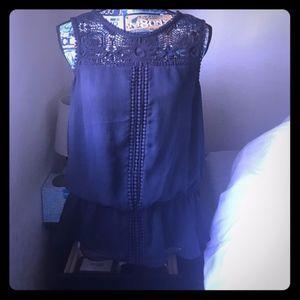 Adrianna Pappell Crochet semi sheer blouse